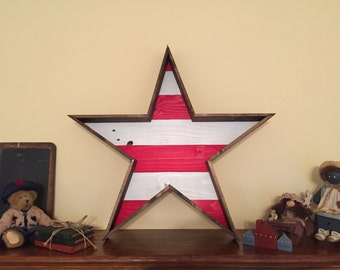 Red and White Wooden Star