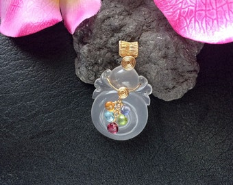 Gold Filled Wire Wrapped Glowing Carved Natural Moon Quartz Ruyi Pendant