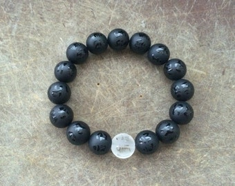 Unisex Om ManI Pademe Hum 12MM Frosted Natural Obsidian & Quartz Amulet Bracelet