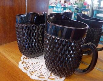 Vintage Tiara Black Glass Cameo Diamond Point Pitcher