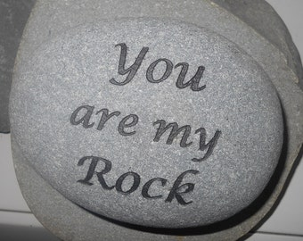 """FREE SHIPPING - Sandcarved """"You Are My Rock"""" on an Alaskan Rock"""