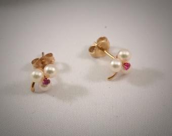 Dainty 14K Gold Pearl Pink Sapphire Earrings