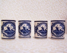 Delft Blue Holland Demi Glasses Vandermint Windmill Shot Liquor Floral Blue White Decor Cottage Chic  FREE Shipping