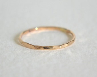 Gold Hammered Ring, Gold Hammered Band, Gold Filled Hammered Ring, Stacking Ring, Dainty Ring, Stackable Ring, Gold Hammered Stacking Ring