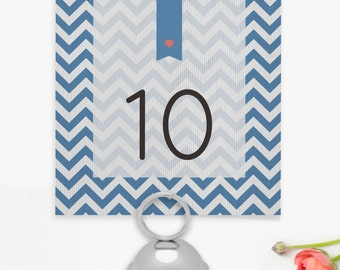 Chevron Wedding Table Numbers or Names