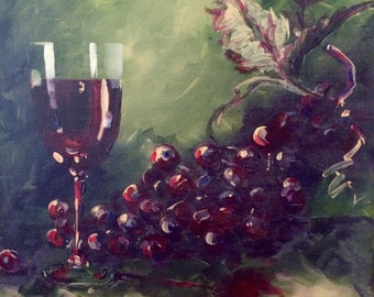 Wine and Grapes Acrylic Painting