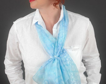 "Hand painted silk scarf""Flowers in the sky"",pastel blue,aquamarine,arctic.Size 16.8""x70.4""(42x176cm).Unique silk scarf."