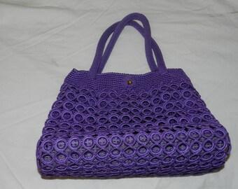 Handmade Knit/Crochet hand bag in Purple, crochet hand bag, Beach Bag