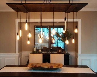 Hand crafted barn door Edison chandelier