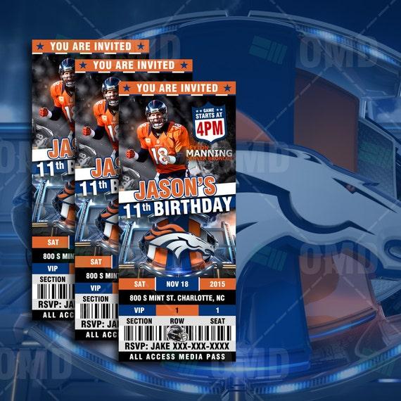 2.5x6 Denver Broncos Sports Party Invitation By Sportsinvites