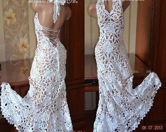 FREE SHIPPING! Crochet knit dress, handmade, white dress, evening dress, wedding dress, long dress, laced dress.