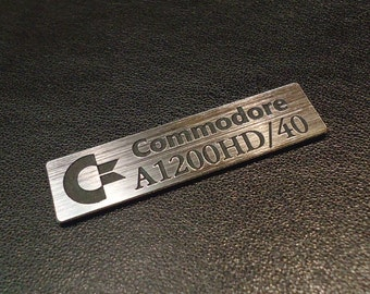 Commodore Amiga 1200 HD Logo / Sticker / Badge brushed aluminum 49 x 13 mm [262]