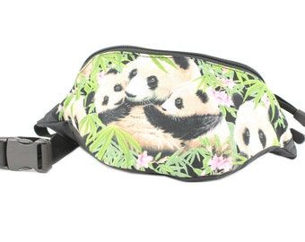 Adorable Panda Bear fabric - Cute Fanny Pack - Hip Waist Bag for travel, sport, and hiking