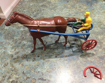 1940 Wolverine Wind Up Harness Sulky Driver Toy