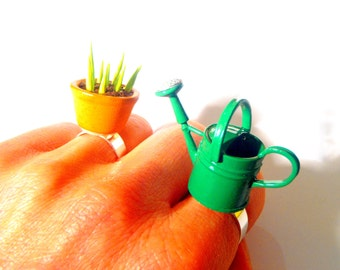 THE GREEN HAND -- Miniature gardening multiple ring set