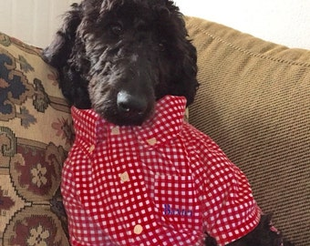 Dog Shirt with Button Down Collar,Preppy Dog Shirt, Gingham Dog Shirt,Checked Dog Shirt,Shirt for Dogs,