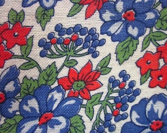 Vintage Cotton Fabric - White with Blue Red Green Flowers - 19 x 30