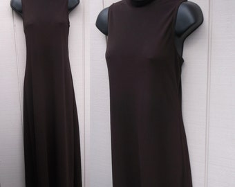 90s Vintage Brown Minimalist Maxi Jersey Knit Dress by Leon Max with high neck mock turtleneck / Size Small