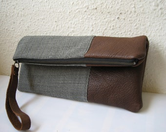 Wool Leather clutch folded over wristlet travel evening clutch zipper large pouch