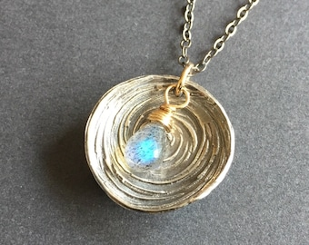 Mission to Pluto, Labradorite, Fine Silver, 14k Gold Fill, Oxidized Sterling Silver, Mixed Metals Necklace, erinelizabeth