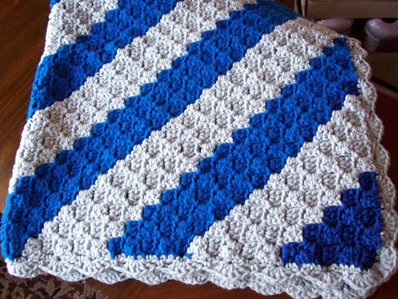 Crochet Pattern For C2c Blanket : Blue and Gray C2C Baby Blanket Lap Robe Afghan 22