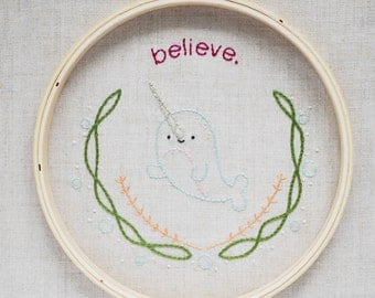 Believe - Narwhal Unicorn of the Sea Hand Mini Embroidery Pattern
