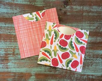 CD Paper Sleeves Set • Veggie Joy • Handmade Pair of Disk Covers • Envelopes • Gift Wrap • Pockets • Printed Paper • DVD