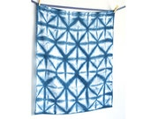 Indigo Shibori Flour Sack Dishcloth / Towel, Large-Hand Dyed