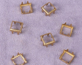 Gold Square Metal Open Studs - 13mm - 1000 Pieces (MOS13GOS-1000)
