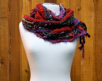 Burgandy B04, an Everyday Scarf in burgundy with a touch of green handwoven and felted by ME