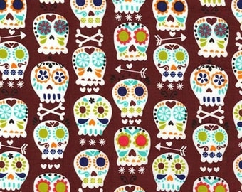 Bonehead in Cocoa - Michael Miller cotton quilt fabric - fat quarter