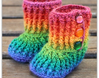 Crochet  Baby Booties - Rainbow - 0-6 months - baby booties - baby gift - baby slippers - new baby gift - baby booty - crochet shoes