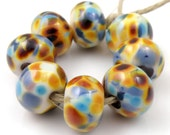 Interlude - Handmade Artisan Lampwork Glass Beads 8mmx12mm - Blue, Purple, Amber, Gold - SRA (Set of 8 Beads)