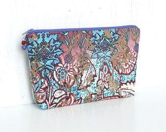SALE - Zipper Pouch, Cosmetic Case, Makeup Bag - Fantasia in Turquoise, Red and Lilac