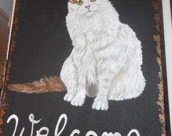 Turkish Van Cat hand Painted Welcome Sign Plaque Home decor