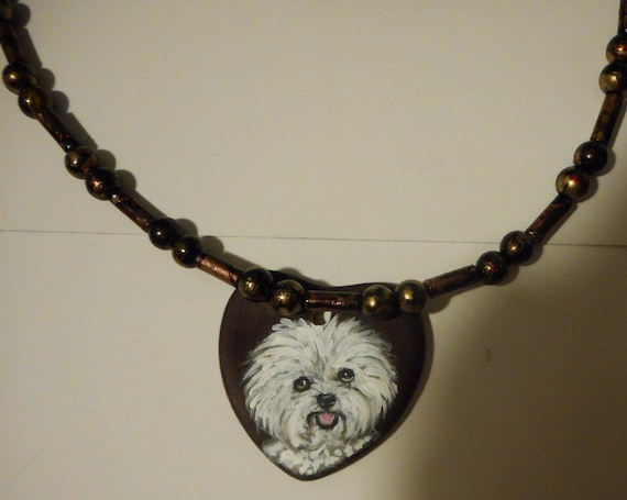 Bichon Frise Dog Beaded Necklace Hand Painted Ceramic Pendant