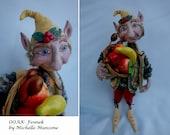 """FENNEK- OOAK - Elf, Polymer Clay-12"""" (30 cm) Tall"""