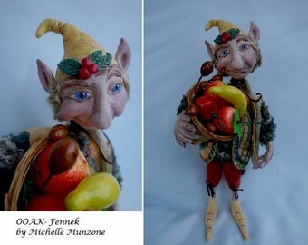 FENNEK, One Of A Kind, Clay Elf, Forest Gnome, Story telling Doll, Goblin, Handcrafted Elf, Michelle Munzone, Fruit seller, Home Decor