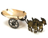 Antique Victorian Palais Royal Goat Drawn Cart Thimble or Ring Holder Mother of Pearl Shell French Grand Tour Souvenir Casket Circa 1860