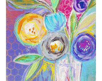 floral no.05 - blooms, still life, mixed media, purple, mustard, flowers