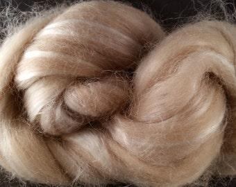 Baby Alpaca & Tussah Silk combed top Fawn 2 oz
