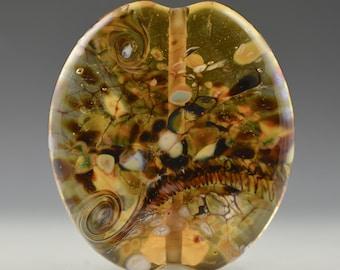 Large Organic Flat Amber Brown Focal Bead