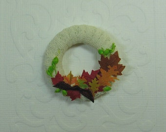Dollhouse Miniature Lace & Fall Leaves Wreath - Burgundy Bow