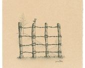 Small Drawing - Bird on a Fence
