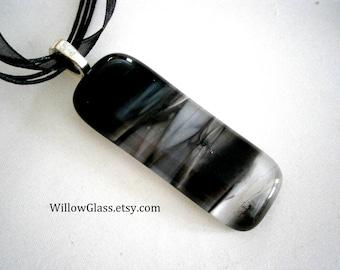 Fused Glass Pendant Streaky Black on Ribbon Cord , Glass Jewelry,  Willow Glass, SRAJD