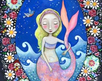 Mermaid Wall Decor Mermaid Art Print Mermaid Nursery Blonde Hair Mermaid Flower Mermaid Art Mixed Media Painting Gift for Friend -'Balance'