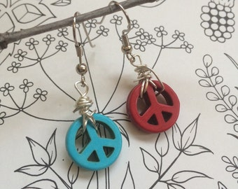 Handmade All American PEACE sign earrings