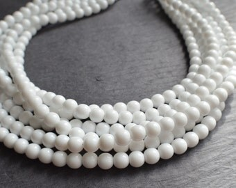 The Michelle- White Czech Glass Statement Necklace