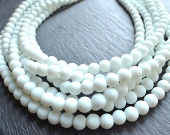 Michelle - White Matte Bridesmaid Statement Necklace