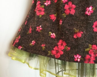 Full Skirt with Contrasting Crinoline - Poly knit and tulle